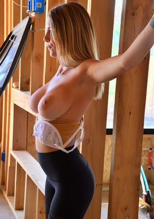 Youthfull blond Gabbie sets her great tits free while changing lingerie