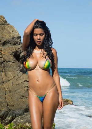 Erotic Kendra Roll eliminates her bikini to bare huge boobies and finger in the sand