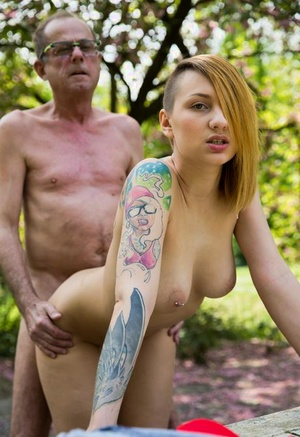 Young alternative female fucks and old fellow in park to pay for her habit