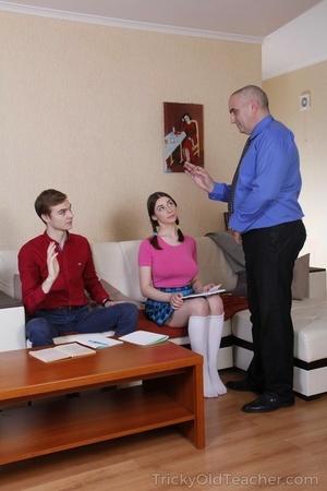 Busty teen has a 3 way with her boyfriend and schoolteacher