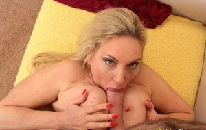 Huge titted mature blonde Cala Craves gets spooned by an old man