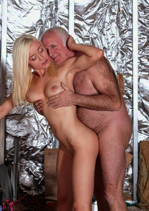 Young blonde slut looks for a big raise after screwing an old man