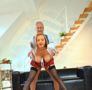 Younger doll in a plaid skirt and nylons scratches fucking an old boy off list