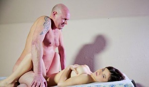 Young Veronica Morre licks oldman cock & tears up doggystyle with tits hanging