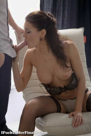 Teen very first timer Harper parks her tight asshole upon a cock in black stockings