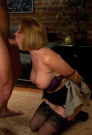 Bald husband ties up bootylicious blonde  Krissy Lynn to fuck her in asshole