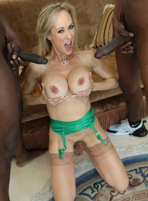 Towheaded doll with long hair gets banged by two black men in tan nylons