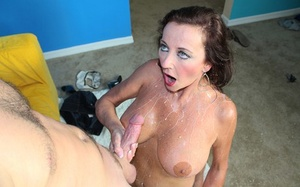 Mature lady Ciara Blue peels off before coaxing spunk from a rod with a handjob
