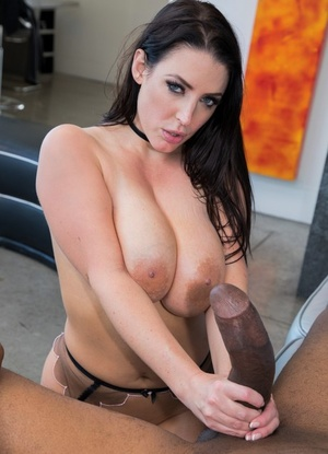 Beautiful brunette Angela White takes a massive black cock up her butthole