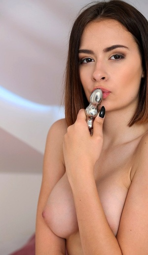 Erotic girlfriend Scyley Tuck removes sexy underwear to toy pussy with dildo