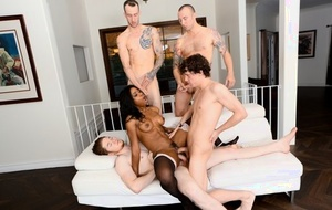 Hot black chick Mya Mays gets gangbanged by a group of white boys