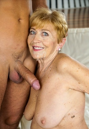 Older granny Malya kissing her boy fucktoy before riding & getting a cum facial