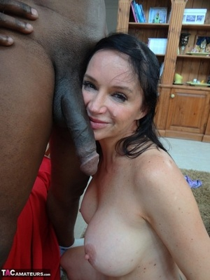 Brunette first timer sucks and fucks a massive ebony penis