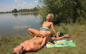 Scorching blonde girlfriend gets peeled and poked doggystyle with outdoor cum facial