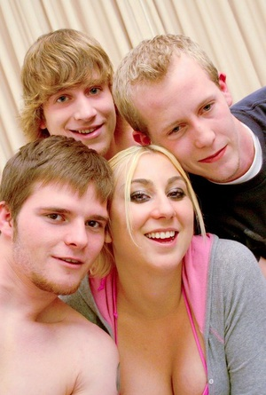 Youthfull blond pornstar getting gangbanged in pigtails and argyle socks