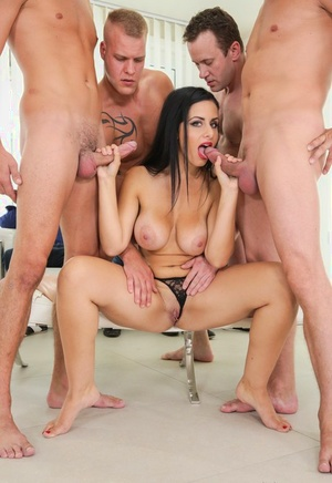 Busty Euro slut has her face covered in cum after a gangbang