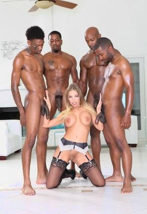 Hot slut Britney Amber in sexy undergarments taking on Big black cock in interracial gangbang