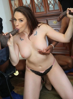 Angry wife fucks two big black cocks while hubby forced to watch as punishment