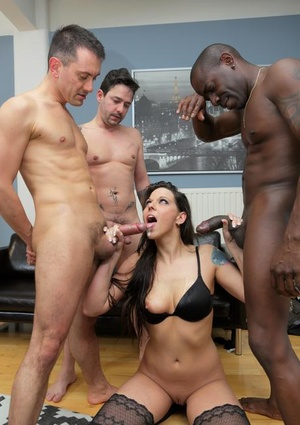 Brunette chick gets triple fucked by white men and a thick black man meat
