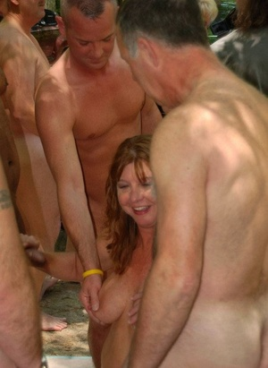 Wild mature slut Tracy Lick & friends engage in steaming public gangbang