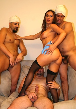 Busty stocking and glasses clad Anita Lay sporting creampie after gangbang