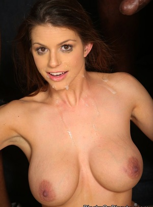 Busty slut Brooklyn Chase sucks and fucks a group of black men only