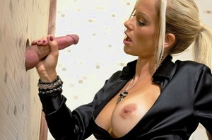 Inviting Mummy in stockings Stacy Silver gets pounded through glory hole