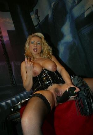 Busty blondes Herrin Vivia & Lady Jones display sex fucktoys in fetish wear