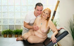 Fat grandmother receives open mouth facial after sex with younger paramour