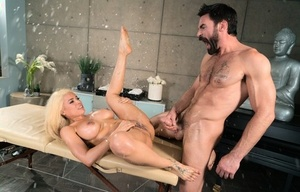 Big titted Latina female Luna Starlet gets banged by her rubdown attendant