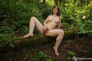 Inexperienced chick uncovers big naturals before playing with her beaver in woods