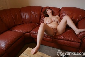 Chubby redhead amateur Ryder Sparks masturbates on sofa after getting naked