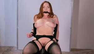 Thick doll Summer Hart endures forced masturbation after being restrained