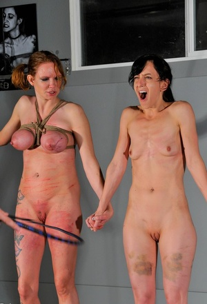 Blonde slave Rain DeGrey has big tits bound and whipped in rough BDSM torture
