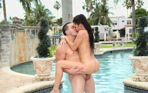 Tasteful brunette Crystal Rae has sensitive cooter banging over the pool