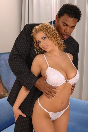 Warm curly haired Luba gives interracial titty fuck & ass rides big ebony shaft