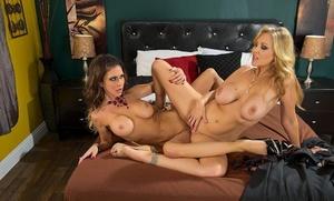 Top pornstars Julia Ann and Jessica Jaymes scissor twats after licking pussy