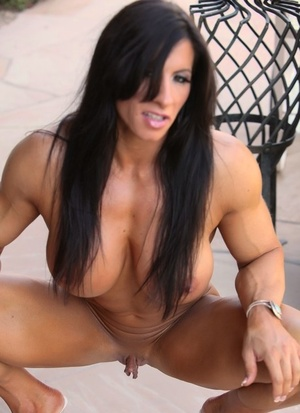 Chick bodybuilder Angela Salvagno lets her big pussy lips hang loose