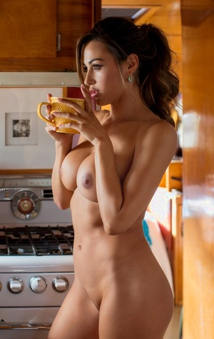Long legged brown-haired centerfold model Ana Cheri exposes big breasts in kitchen