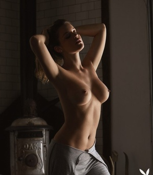 Magnificent model Shelby Rose shows her superb tits during centerfold shoot