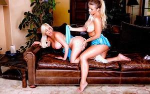 Busty Latina lesbian Adriana Sephora and Spencer Scott slurping pussies