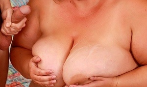 SSSBBW Erin Green holds her big mounds for cumshot after being fucked