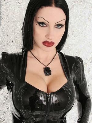 Goth model Vampirabat sets a fat breast free of long latex dress