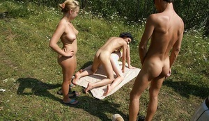 Stupendous coeds enjoy groupsex party with horny lads outdoor
