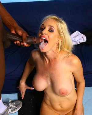 Blonde cougar Tabitha loves a bbc before getting cum on her face