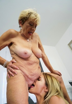 Blonde grandmother and her step-granddaughter have lezzie sex