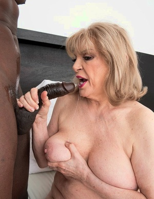 Big boobed grandmother Crystal King sucks the sperm from a BBC