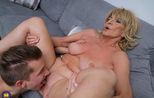 Naughty ample granny gets a whole lot of hot lovin' from her young boy toy