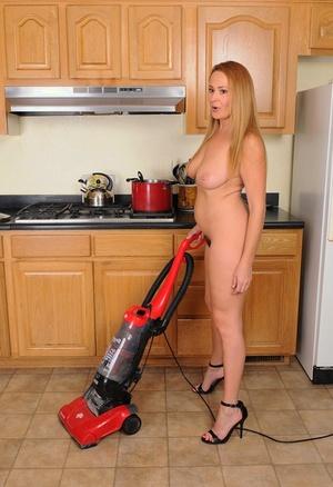 Plump horny wife Elexis Monroe toys hairy muff & milks big baps with vacuum
