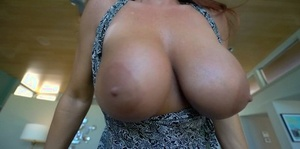 Big boobed housewife strokes and sucks her guy's cock POV fashion